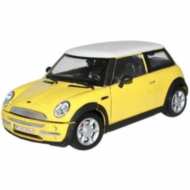 Speelgoed auto mini cooper geel 1:24