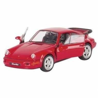 Speelgoed auto porsche 964 carrera rood 1:34