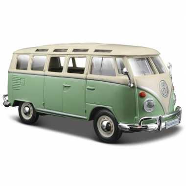 Speelgoed auto volkswagen busje groen samba 1:24