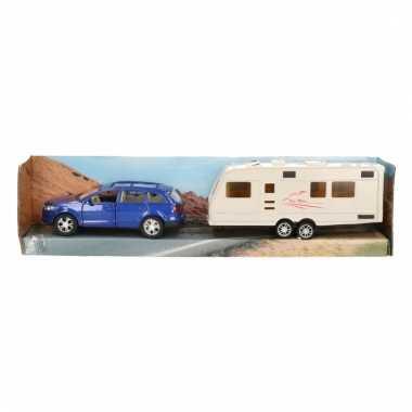 Speelgoed blauwe audi q7 auto met caravan 1:48