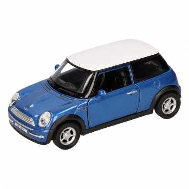 Speelgoed blauwe mini cooper auto 12 cm