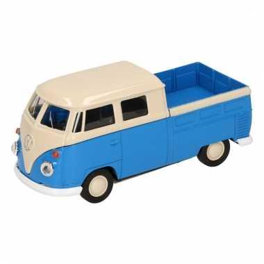 Speelgoed blauwe volkswagen t1 pick up auto 1:36