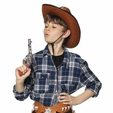 Speelgoed cowboy revolver pistool zilver 20 cm