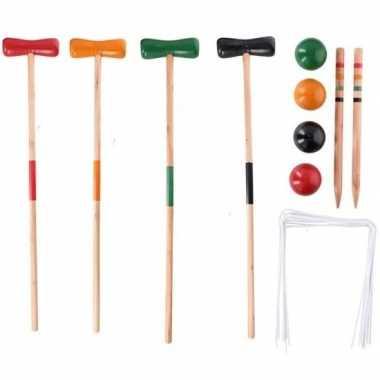 Speelgoed croquet set van hout 20-delig