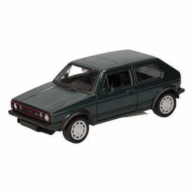 Speelgoed donkergroene volkswagen golf i gti speelauto 12 cm