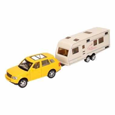 Speelgoed gele land rover auto met caravan 1 48