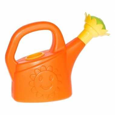 Speelgoed gieter oranje met zonnebloem