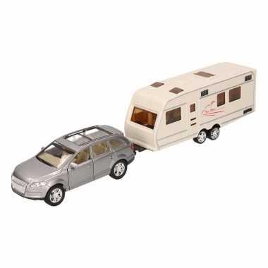 Speelgoed grijze audi q7 auto met caravan 1 48