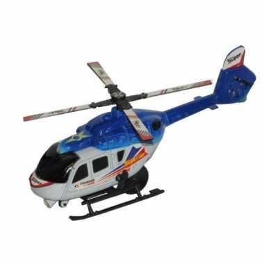 Speelgoed helicopter blauw wit 21 cm