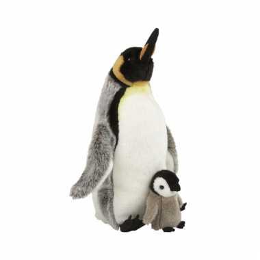 Speelgoed knuffel piguin met baby 40 cm