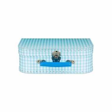 Speelgoed koffertje blauw geruit 25 cm