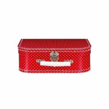 Speelgoed koffertje rood met witte stippen 25 cm