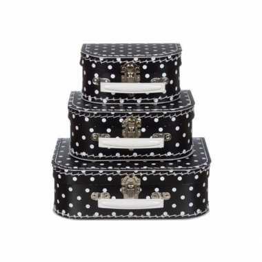 Speelgoed koffertje zwart met witte stippen 20 cm