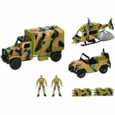 Speelgoed leger / army set met voertuigen en soldaten 8-delig