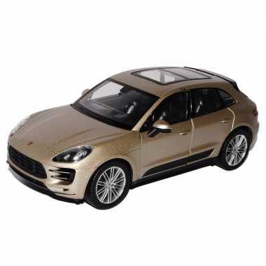 Speelgoed metallic beige porsche macan turbo auto 12 cm