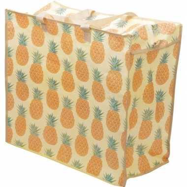 Speelgoed opbergtas/opbergzak ananas print 55 x 48 cm
