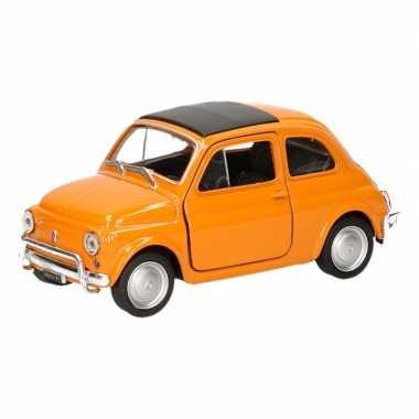 Speelgoed oranje fiat 500 classic auto 1 36