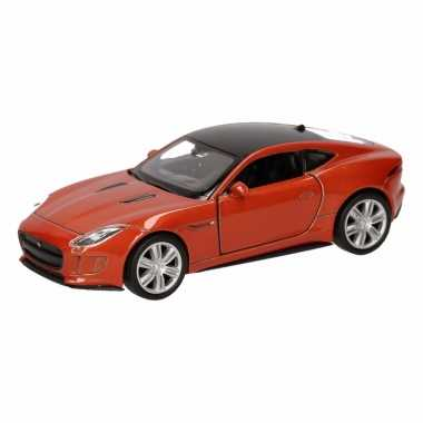 Speelgoed oranje jaguar f-type coupe speelauto 12 cm