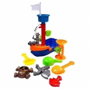 Speelgoed piratenboot met zandvormen set 8 delig