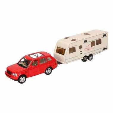 Speelgoed rode land rover auto met caravan 1:48