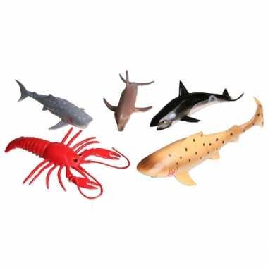Speelgoed set plastic vissen 5 delig
