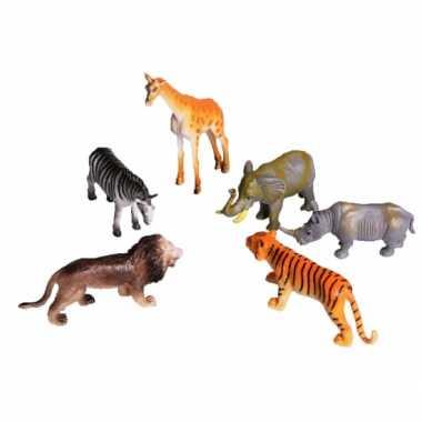 Speelgoed set plastic wilde dieren 6 delig
