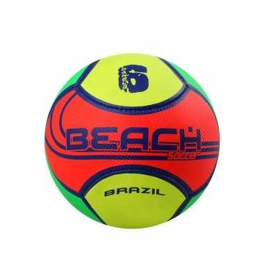 Speelgoed strand voetbal no. 5 geel/oranje/groen voor kinderen/volwassenen