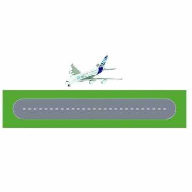 Speelgoed vliegveld landingsbaan wegplaten set karton met airbus