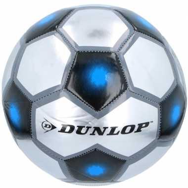 Speelgoed voetbal grijs/zilver/blauw 23 cm