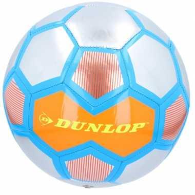 Speelgoed voetbal oranje/zilver/blauw 23 cm