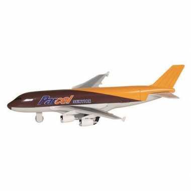 Speelgoed vracht vliegtuig bruin 19 cm