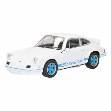 Speelgoed wit blauwe porsche carrera rs 1973 auto 11,5 cm