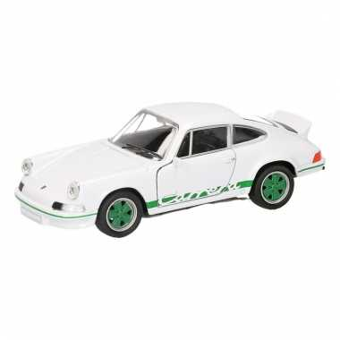 Speelgoed wit groene porsche carrera rs 1973 auto 11,5 cm