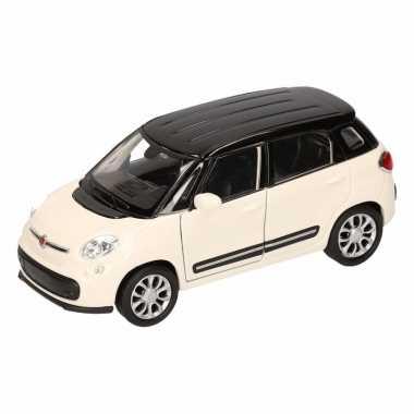 Speelgoed wit/ zwarte fiat 500 l auto 11,5 cm