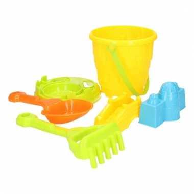 Speelgoed zandvormen emmer setje 6 delig