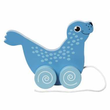 Speelgoed zeehond trekdier 13 cm