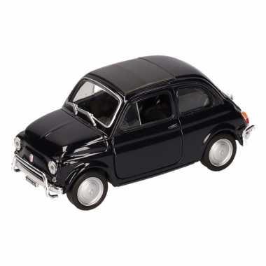 Speelgoed zwarte fiat 500 classic auto 1:36