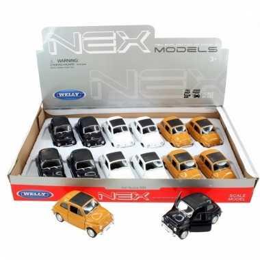 Speelgoed zwarte fiat 500 classic auto 10,5 cm