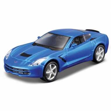 Speelgoedauto chevrolet blauwe corvette stringray 2014