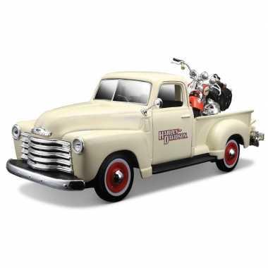 Speelgoedauto chevrolet truck met harley motor 1:24