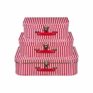 Speelgoedkoffertje rood gestreept 35 cm