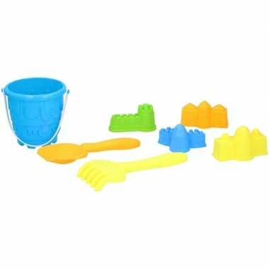 Strand/zandbak speelgoed blauwe emmer met vormpjes en schepjes