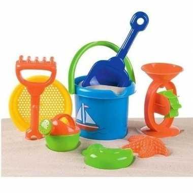 Strand/zandbak speelgoed emmer met vormpjes en schepjes