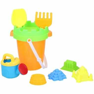 Strand zandbak speelgoed oranje emmer met vormpjes en schepjes