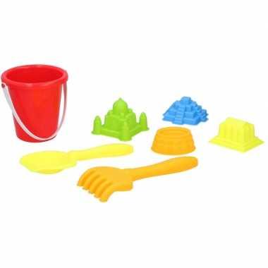 Strand zandbak speelgoed rode emmer met vormpjes en schepjes