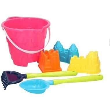 Strand/zandbak speelgoed roze emmer met vormpjes en schepjes