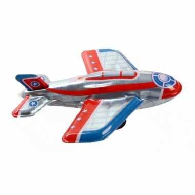 Vintage speelgoed vliegtuigje zilver 11 cm