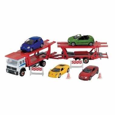 Vrachtwagen met auto op aanhanger speelgoed modelauto 1:60