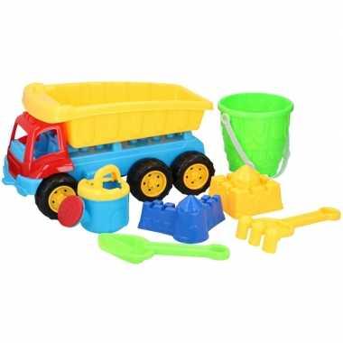 Zandbak speelgoed blauwe truck/kiepwagen met containerbak 35cm