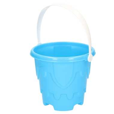 Zandkasteel emmer/strandemmertje blauw 18 x 16 cm speelgoed
